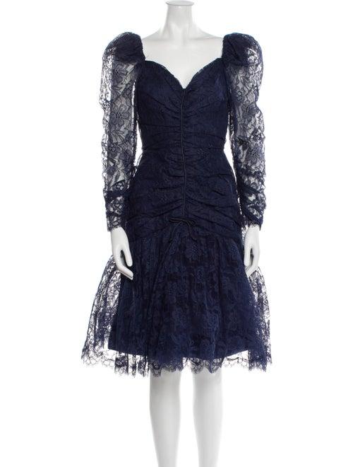 Arnold Scaasi Vintage Knee-Length Dress Blue - image 1