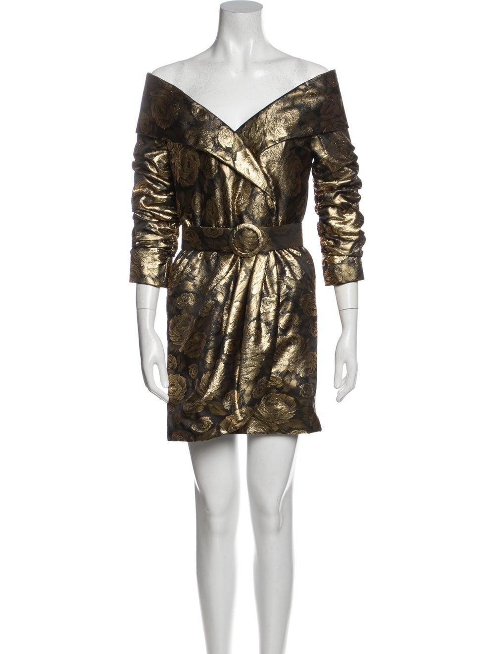 Arnold Scaasi Vintage Mini Dress Gold - image 1