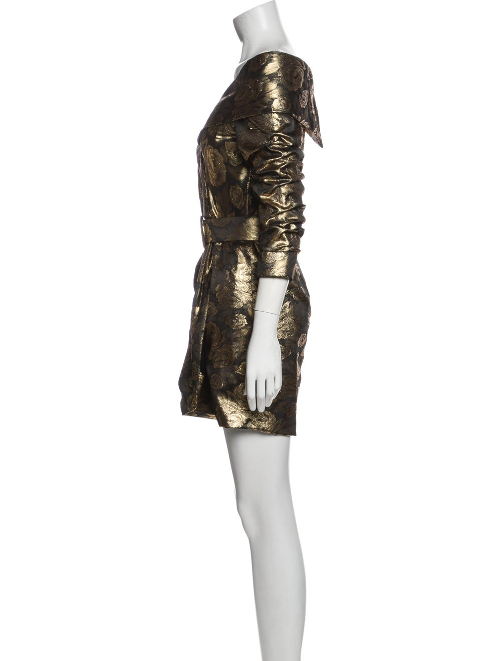 Arnold Scaasi Vintage Mini Dress Gold - image 2
