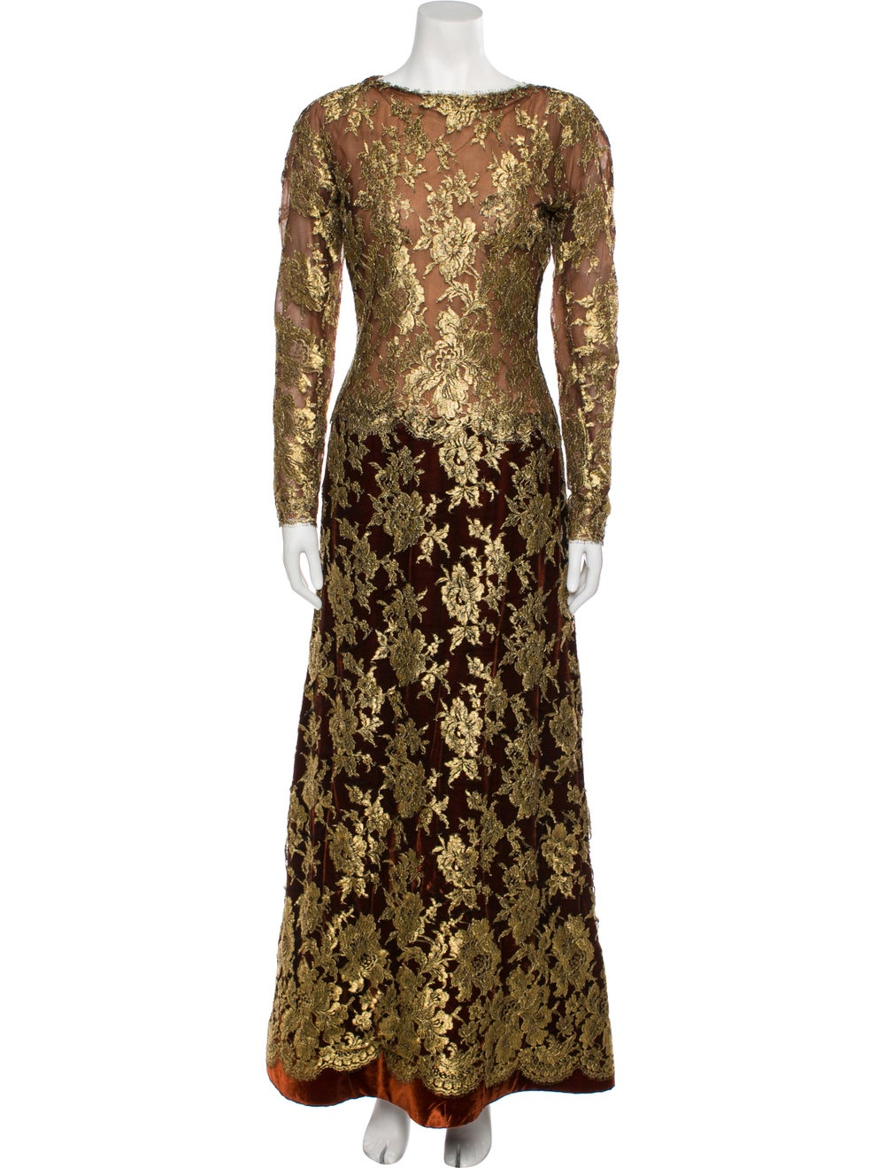 Arnold Scaasi Vintage Long Dress Gold - image 1