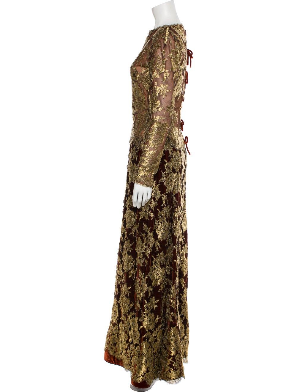 Arnold Scaasi Vintage Long Dress Gold - image 2