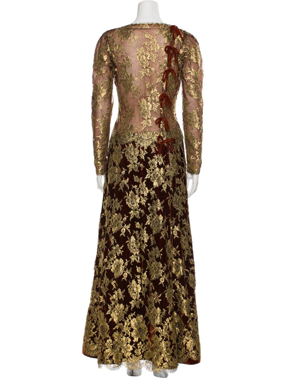 Arnold Scaasi Vintage Long Dress Gold - image 3