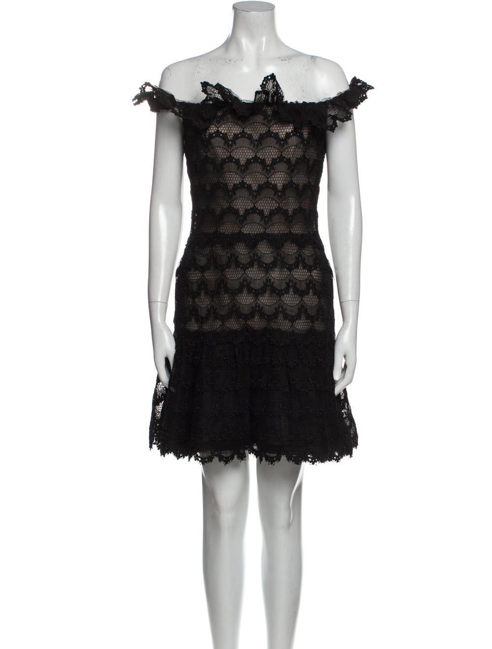 Arnold Scaasi Cowl Neck Mini Dress Black - image 1