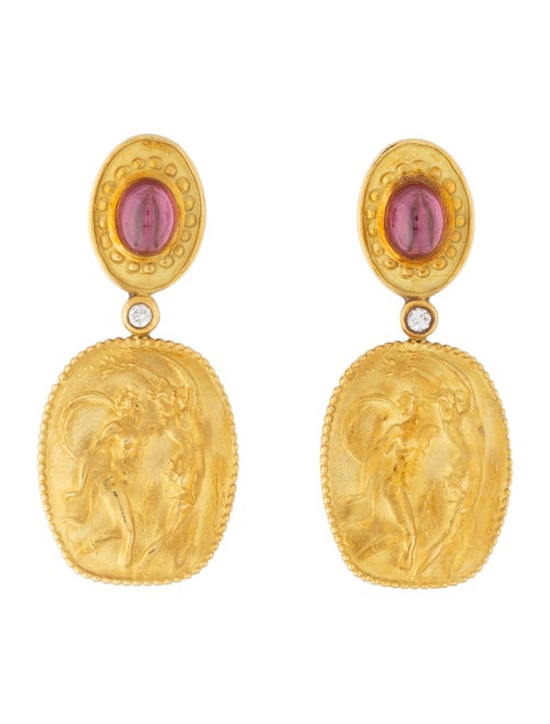 Athena 18K Garnet & Diamond Drop Earrings yellow