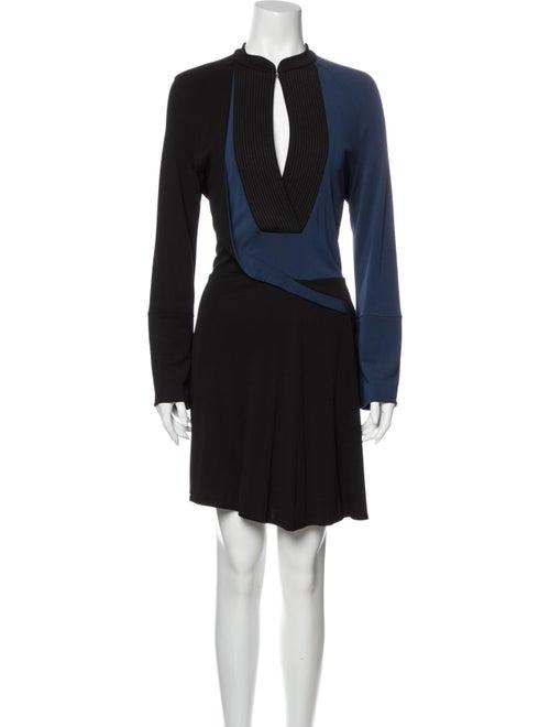 Atlein Colorblock Pattern Knee-Length Dress Black