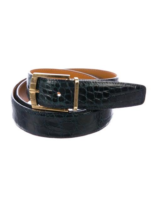 a.testoni Crocodile Waist Belt navy
