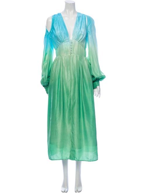 Attico Silk Tie-Dye Print Tunic Green