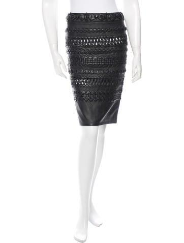 Alexandre Vauthier Woven Leather Skirt