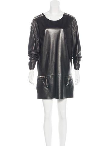 Anthony Vaccarello Embellished Leather Dress