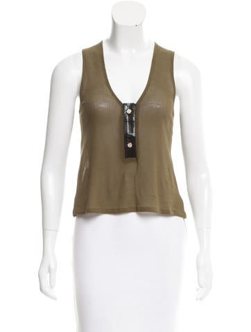 Anthony Vaccarello Leather-Accented Crop Top None