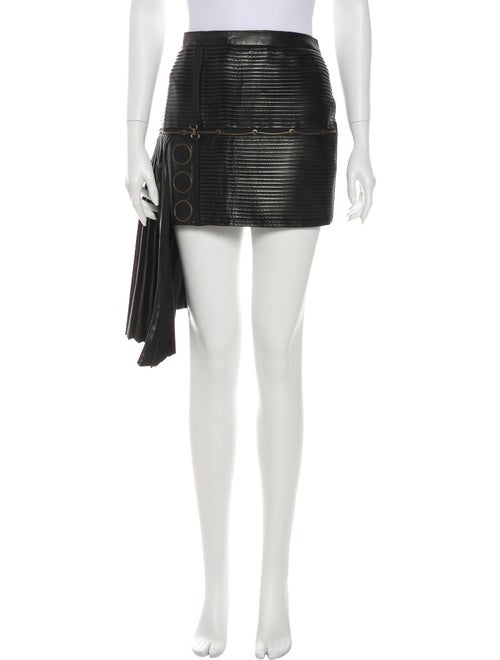 Anthony Vaccarello Pleated Accents Mini Skirt Blac