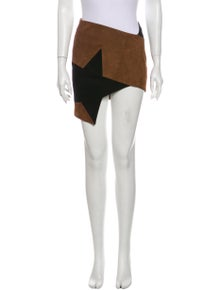 Anthony Vaccarello Goat Leather Mini Skirt w/ Tags