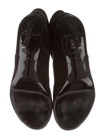 Suede Peep-Toe Ankle Booties