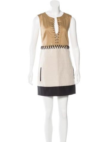 Barbara Bui Lace-Up Sleeveless Dress None