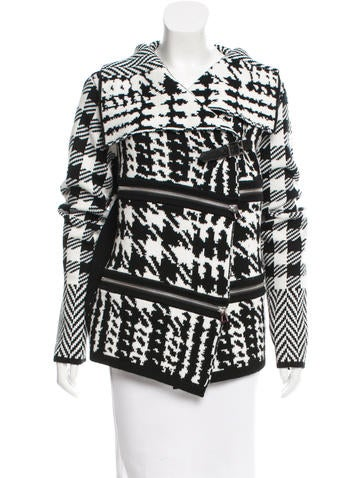Barbara Bui Zip-Accented Houndstooth Cardigan w/ Tags None