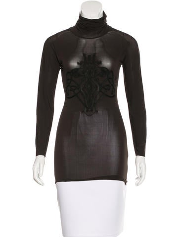 Barbara Bui Embroidered Turtleneck Top None