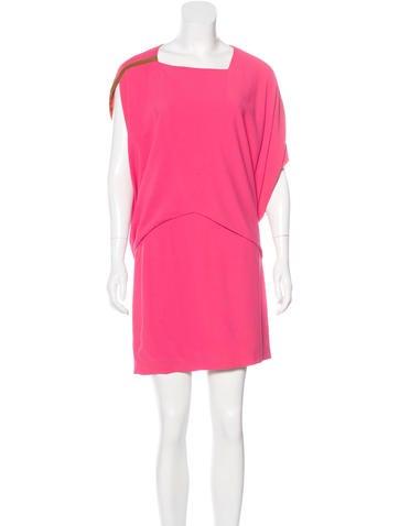 Barbara Bui Leather-Trimmed Asymmetrical Dress None