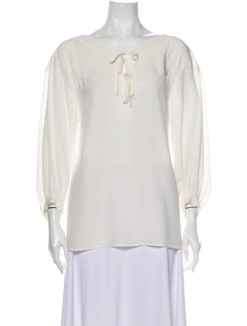 Barbara Bui Silk V-Neck Blouse White