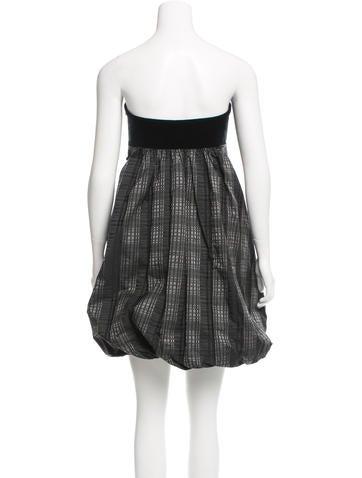 Plaid Velvet-Trimmed Dress w/ Tags