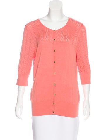 Badgley Mischka Silk Button-Up Top None