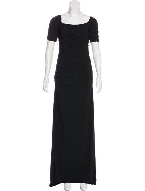 Badgley Mischka Short Sleeve Evening Dress Black