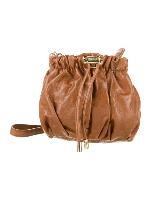 Badgley Mischka Leather Mini Bucket Bag Brown