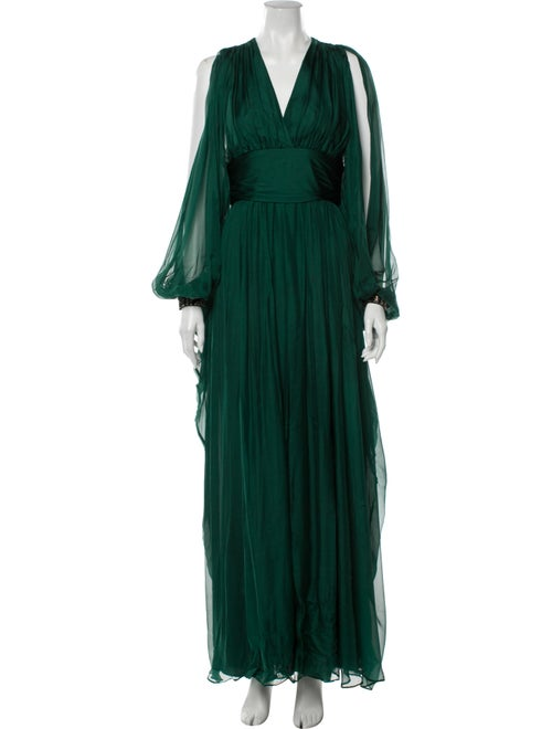 Badgley Mischka Silk Long Dress Green