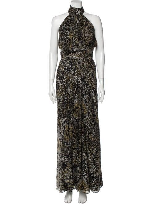 Badgley Mischka Silk Long Dress Gold