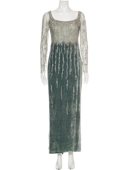 Badgley Mischka Colorblock Pattern Long Dress Grey