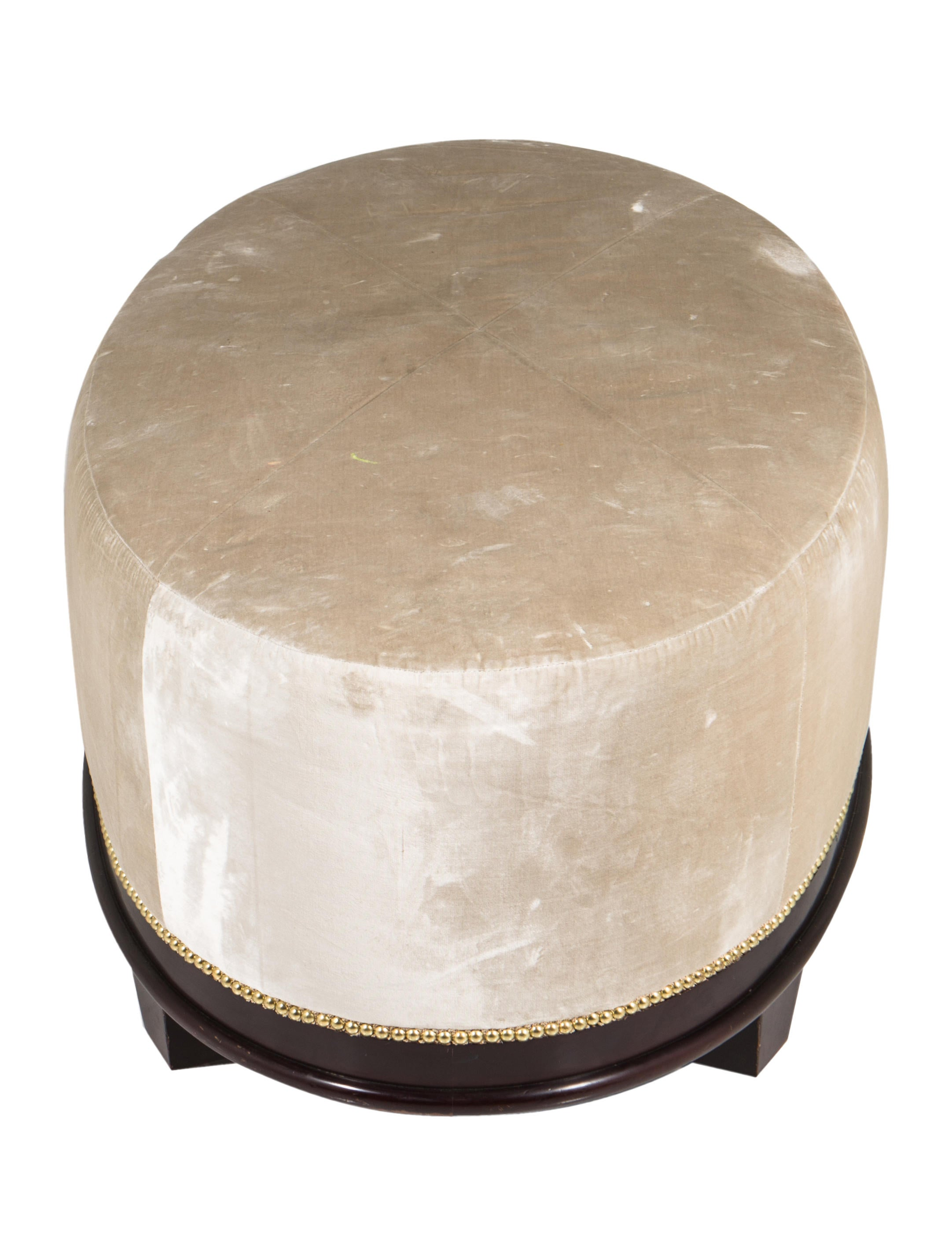 Baker Barbara Barry Oval X Stitched Ottoman Furniture