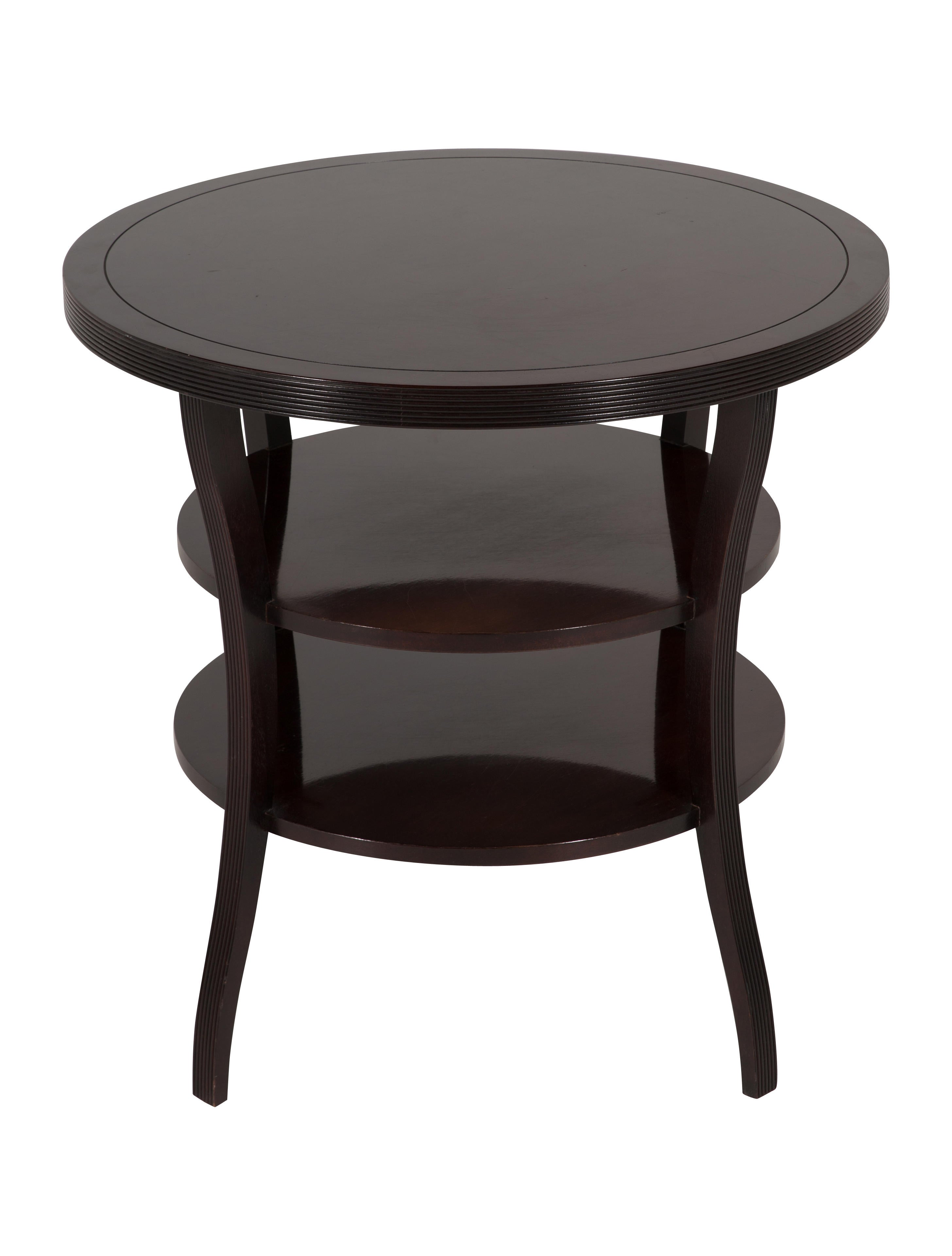 Baker barbara barry mahogany round tiered end table furniture barbara barry mahogany round tiered end table geotapseo Gallery