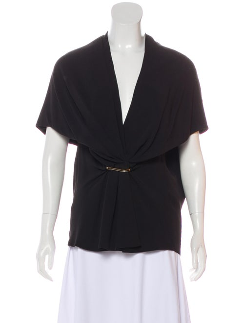 Balenciaga Cap Sleeve Gathered Blouse Black