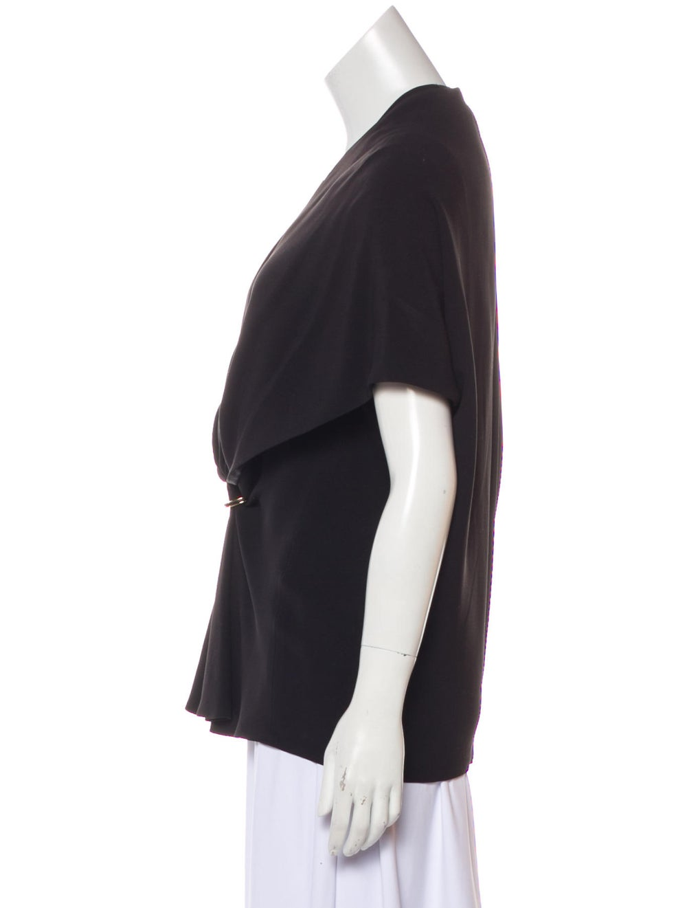 Balenciaga Cap Sleeve Gathered Blouse Black - image 2