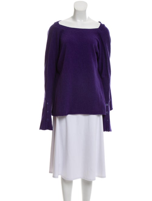 Balenciaga Square Neck Wool Sweater Purple