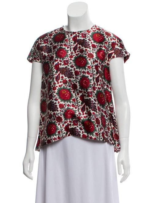 Balenciaga Cap Sleeve Crew Neck Top Red - image 1