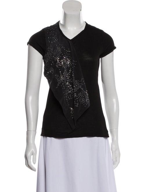 Balenciaga Embellished Cap Sleeve T-Shirt Black - image 1
