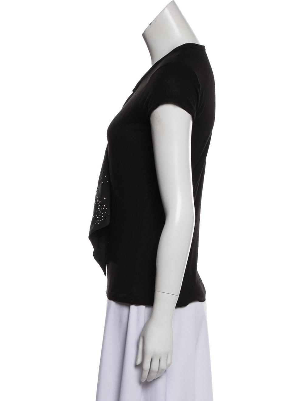 Balenciaga Embellished Cap Sleeve T-Shirt Black - image 2