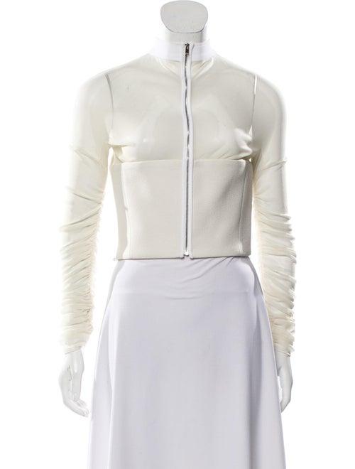 Balenciaga Paneled Cropped Jacket silver