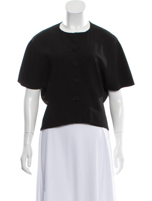 Balenciaga Collarless Short Sleeve Jacket Black