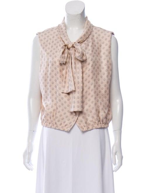 Balenciaga Silk Polka Dot Print Top