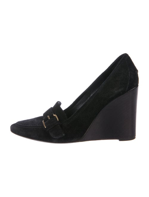 Balenciaga Suede Buckle Wedges Black - image 1