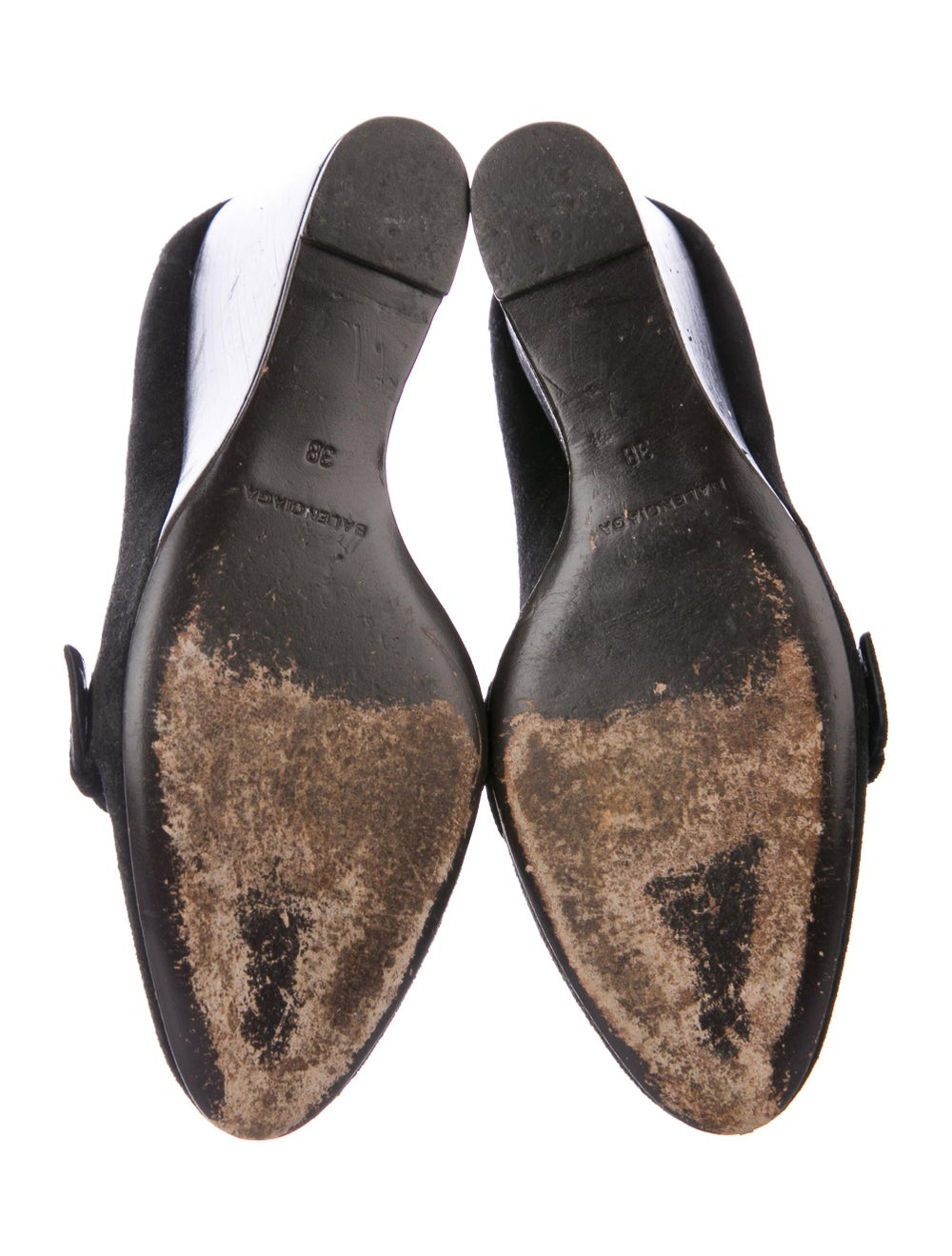 Balenciaga Suede Buckle Wedges Black - image 5