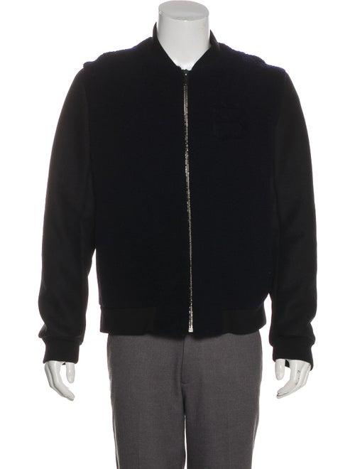 Balenciaga Shearling Accented Wool Jacket navy