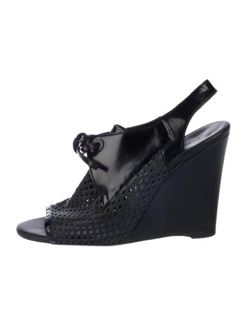Balenciaga Leather Slingback Wedges Black