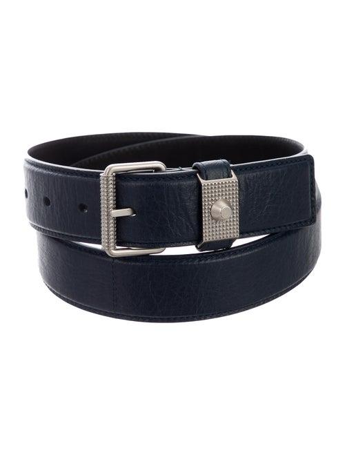 Balenciaga Leather Buckle Belt navy