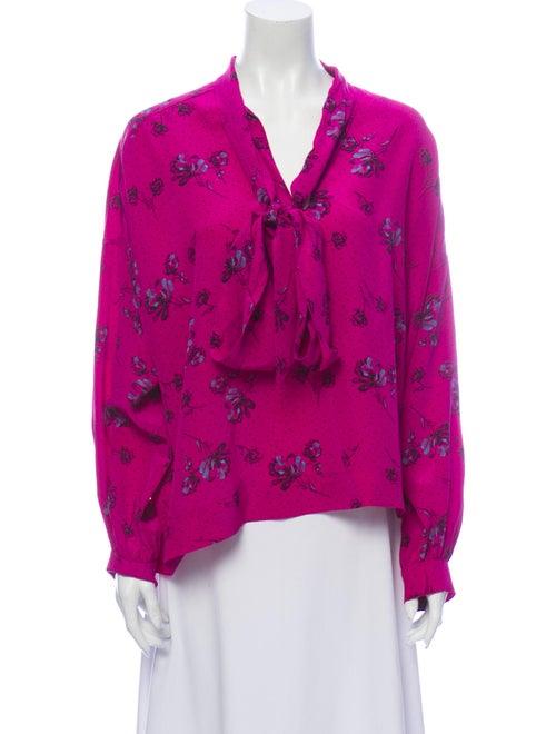 Balenciaga Silk Floral Print Blouse Purple