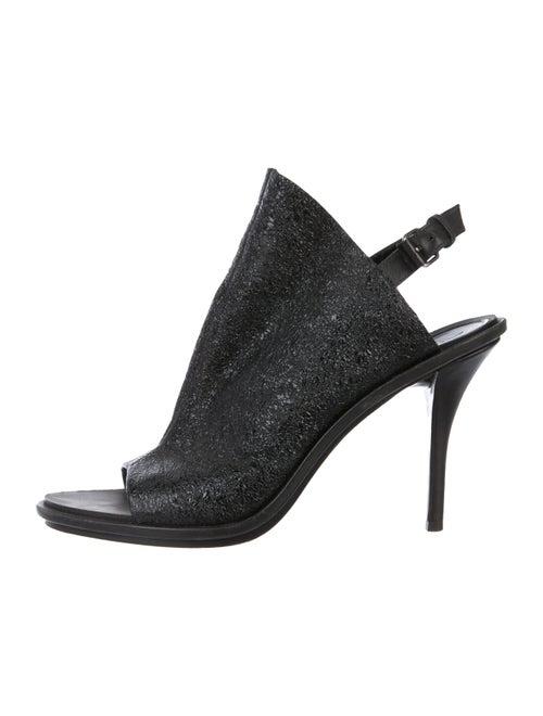 Balenciaga Leather Slingback Booties Black