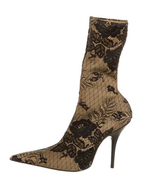 Balenciaga Lace Pattern Sock Boots Black