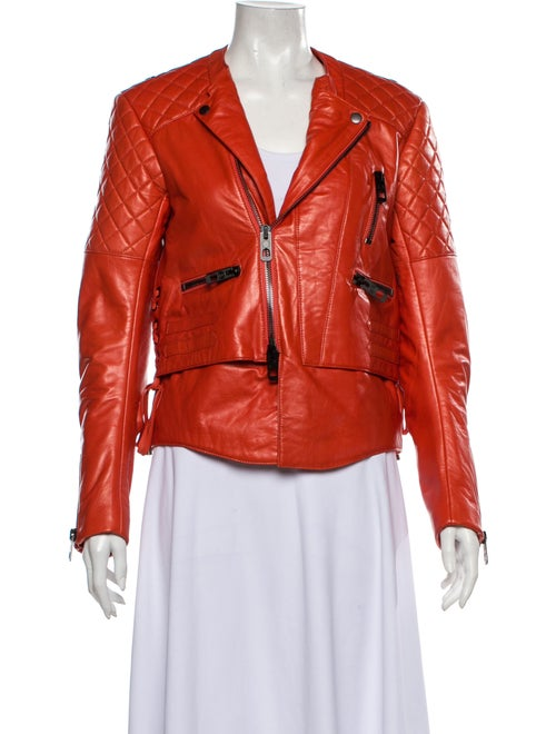 Balenciaga Leather Biker Jacket Orange