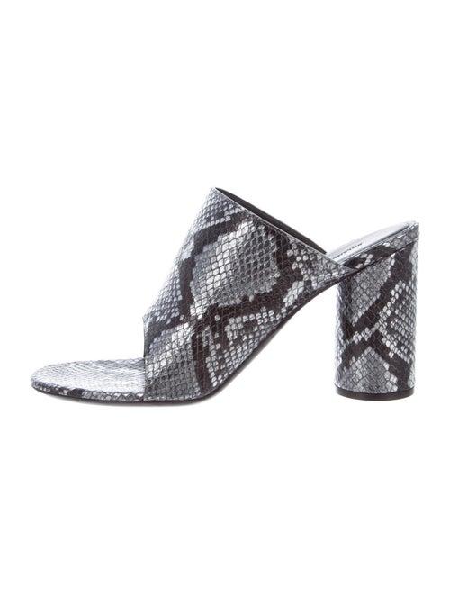 Balenciaga Leather Slides Silver